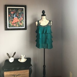 Like New LC Lauren Conrad Teal Lace Ruffle Tank